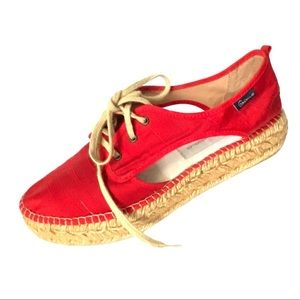 Gaimo Red Cotton/Linen Espadrilles with Cutouts 39